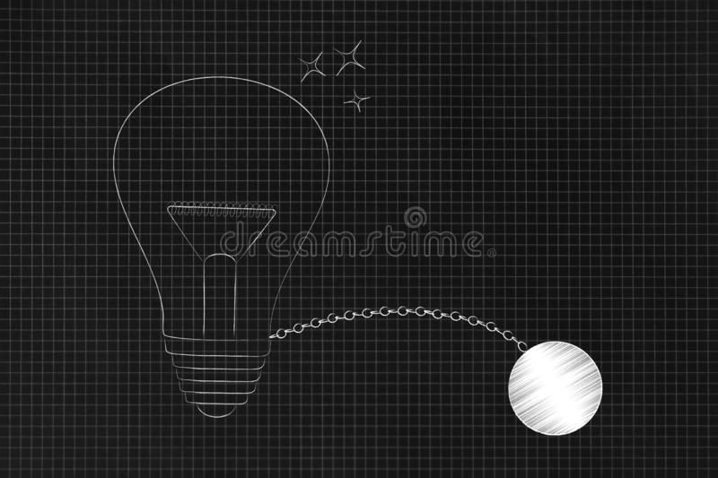 Light bulb with ball and chain. Set your mind free conceptual illustraion: light bulb with ball and chain vector illustration