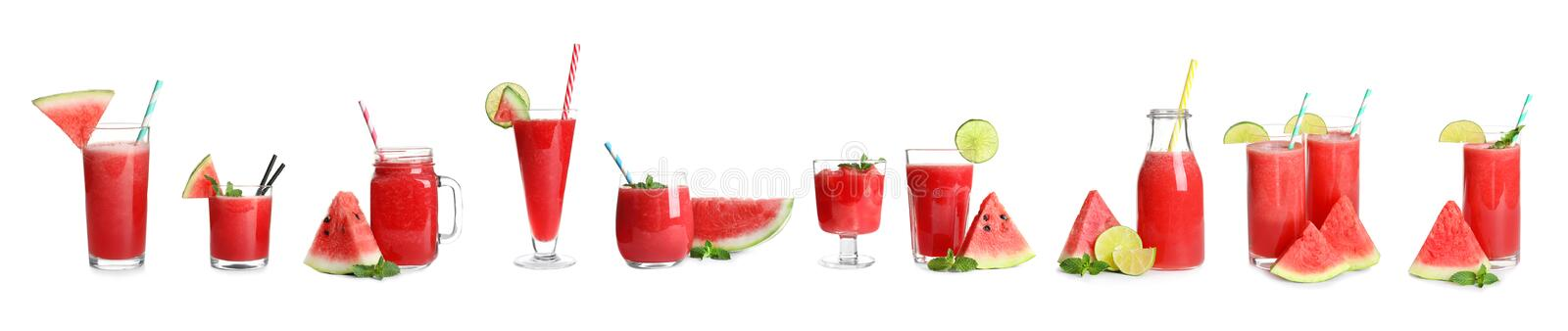 Set of yummy watermelon cocktails in different glassware stock photos