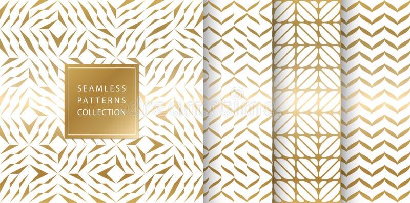 Set złoci bezszwowi wzory Wektorowy tekstura projekt Abstrakcjonistyczny bezszwowy geometryczny wzór na białym tle prosty royalty ilustracja