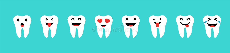 Set zęby z emocjami w białym kolorze na błękitnym tle Szczęśliwi zęby ustawiający Ząb ikony royalty ilustracja
