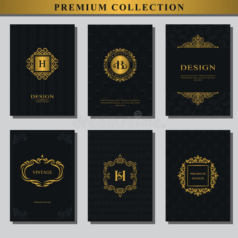 Set złociści emblematy Kolekcja projektów elementy, etykietki, ikona, ramy, dla pakować, projekt luksusowi produkty Loga projekt  royalty ilustracja