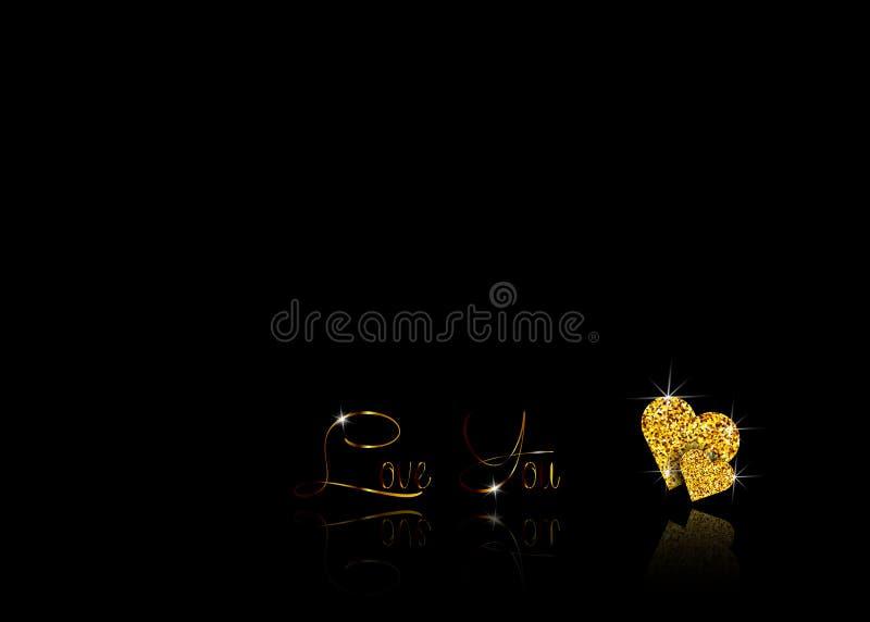 Set Złociści serca błyskotliwa mozaika kształt serce jest od złotej błyskotliwości i teksta z złoto kędziorami: kocha ciebie vale royalty ilustracja