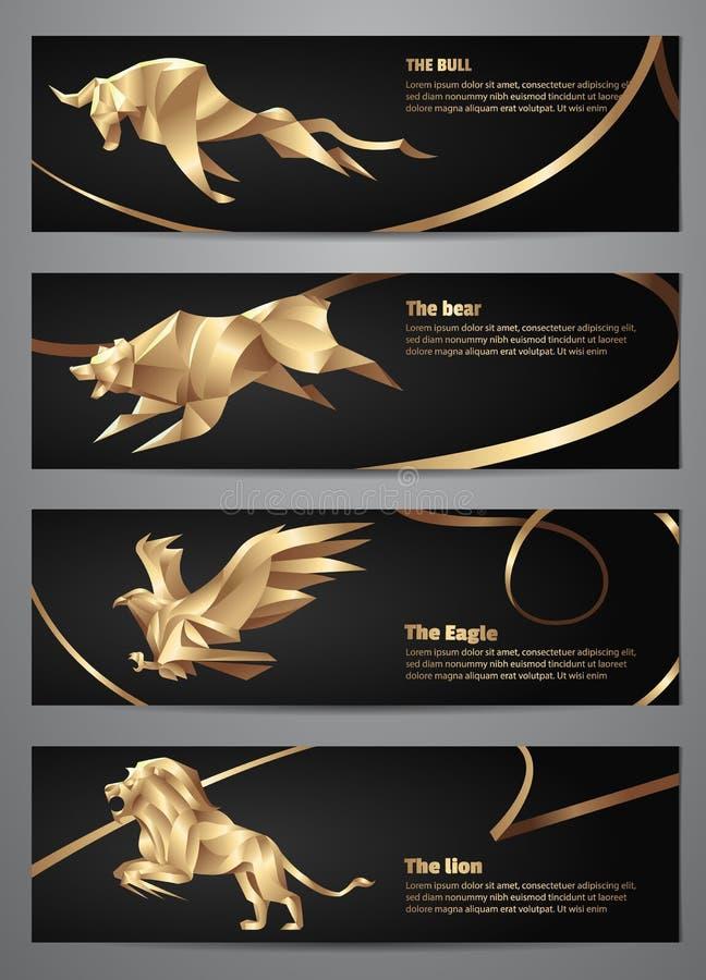 Set Złociści zwierzęcy sztandary ilustracja wektor