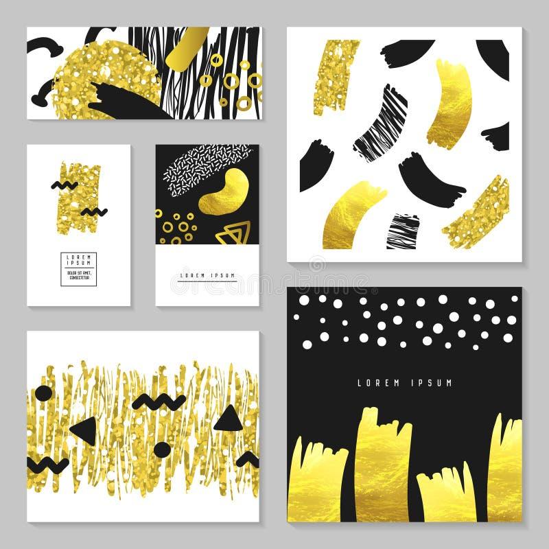 Set Złoci błyskotliwość prezenta kartka z pozdrowieniami szablony Abstrakcjonistyczna ręka Rysujący tło projekt dla zaproszenia,  royalty ilustracja