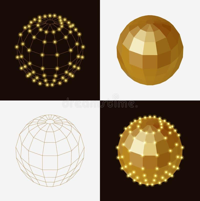 Set złoci balowi poligonalni przejrzyści zredukowani guzki ilustracji