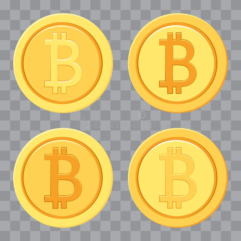 Set złoci bitcoins Pieni?dze ikona r?wnie? zwr?ci? corel ilustracji wektora ilustracji