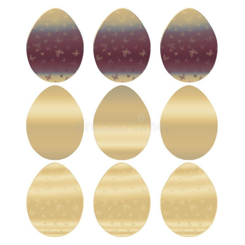 Set złoci jajka z motylami ilustracji