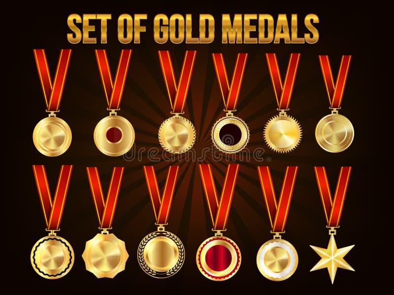 Set złoci medale royalty ilustracja