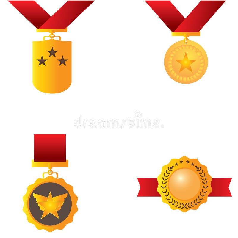 Set złoci medale ilustracji