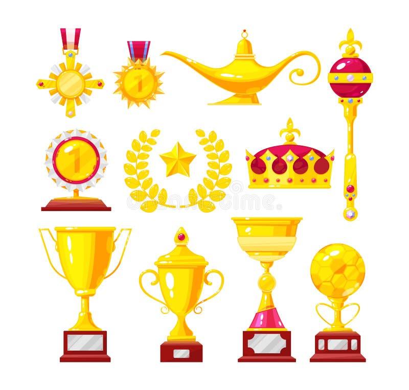 Set złoci medale, medale, filiżanki, ornamenty Królewscy akcesoria, luksus ilustracja wektor