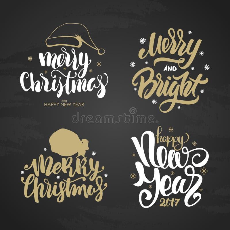 Set złoci zima wakacje wpisowi Wesoło i Jaskrawi boże narodzenia i Szczęśliwy nowy rok na chalkboard tle ilustracja wektor