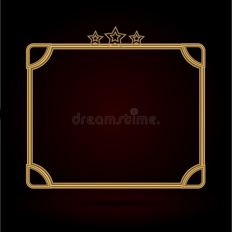 Set Złocista fotografii rama z narożnikowy Thailand kreskowy kwiecistym dla obrazka, Wektorowy projekt dekoraci wzoru styl ramy g ilustracja wektor