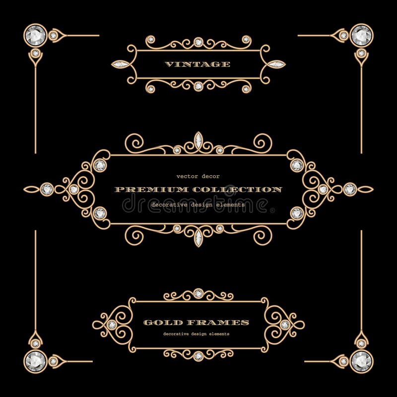 Set złociste biżuterii ramy ilustracji
