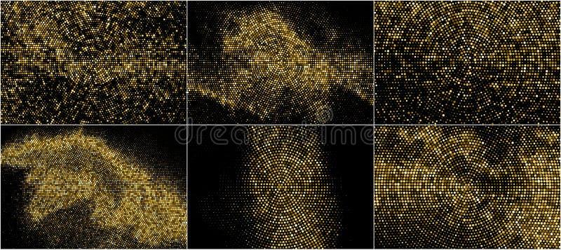 Set Złocistego błyskotliwości Halftone Kropkowany tło royalty ilustracja