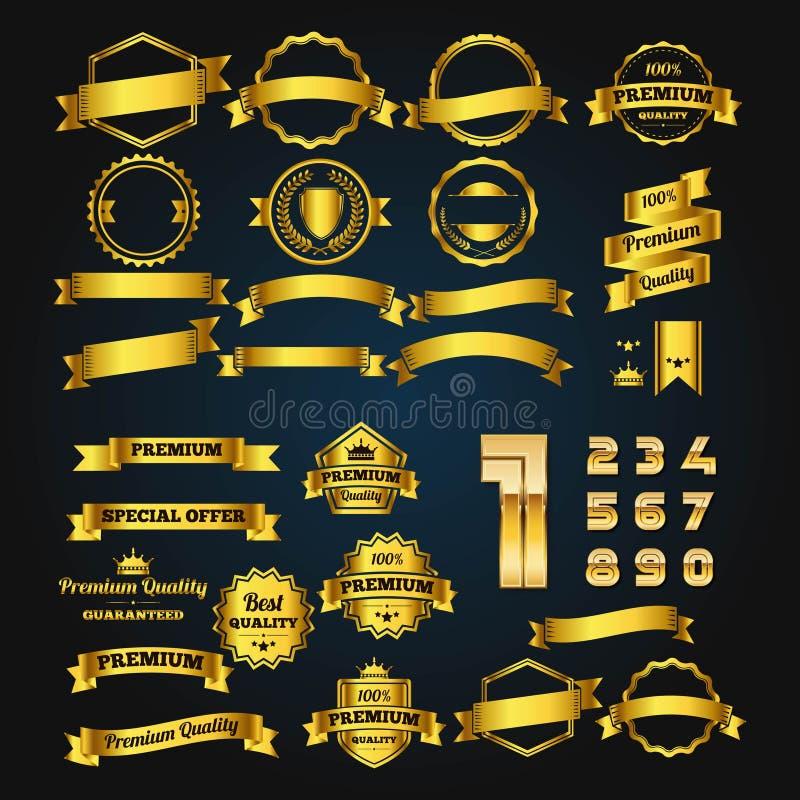 SET ZŁOCISTY odznaka element, liczba I royalty ilustracja