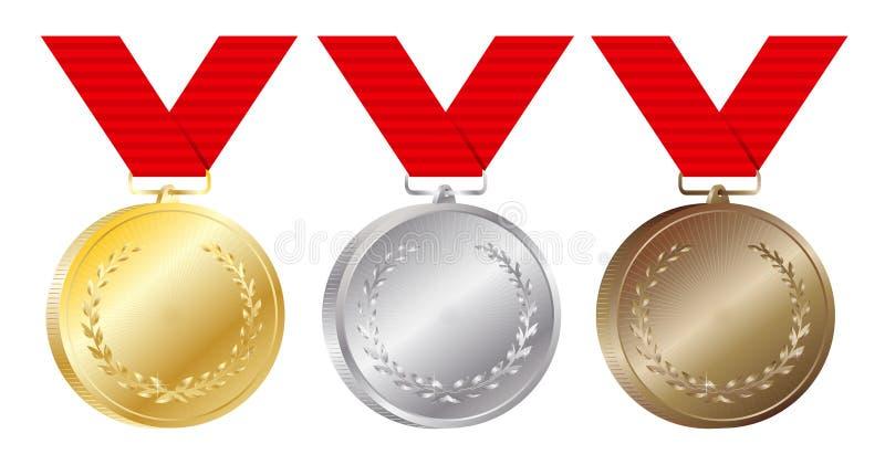 Set złota, srebra i brązowych medali wektorowa ilustracja na bielu, ilustracja wektor
