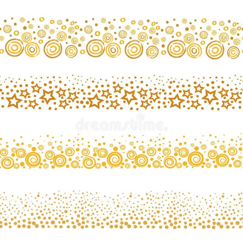 Set złote bezszwowe granicy ilustracja wektor