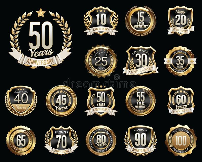 Set Złote Rocznicowe odznaki Set Złoci Rocznicowi znaki royalty ilustracja