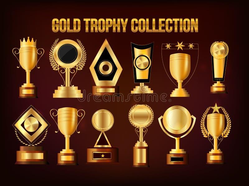Set Złote trofeum filiżanki, nagrody i ilustracja wektor