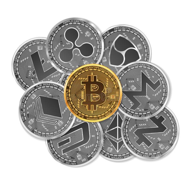 Set złoto i srebne crypto waluty ilustracji