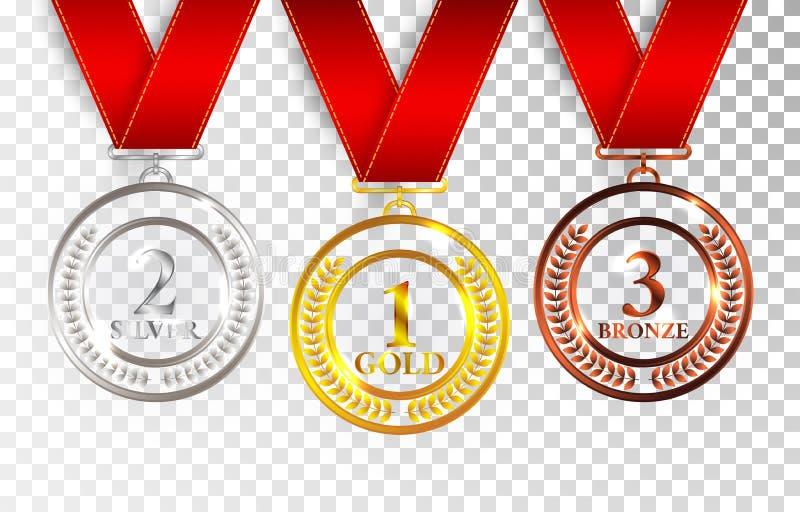 Set złoto, srebro i brąz, Nagradzamy medale z czerwonymi faborkami Medal round opróżnia okrzesaną wektorową kolekcję odizolowywaj ilustracji