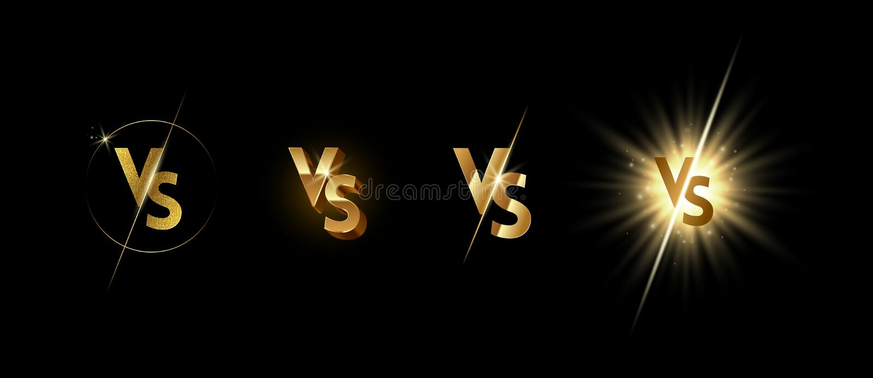 Set złoty jaśnienie versus logo na czarnym tle ilustracja wektor
