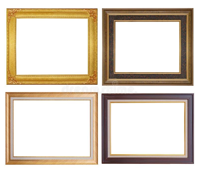 Set złoty ramy i drewna rocznik odizolowywający na białym backgroun fotografia stock