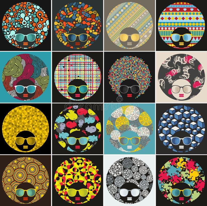Set z ładnymi abstrakcjonistycznymi twarzami murzynki z kreatywnie włosy royalty ilustracja