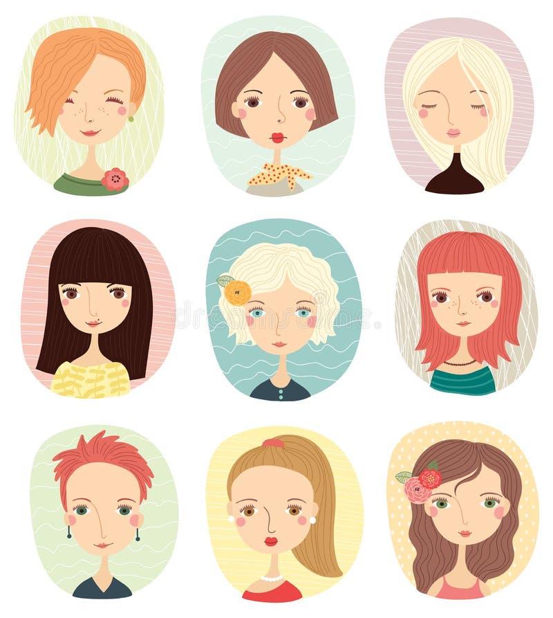 Set z ślicznymi mod dziewczynami royalty ilustracja