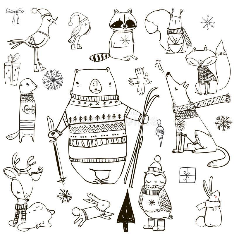 Set z ślicznymi zim zwierzętami ilustracja wektor