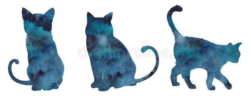 Set z akwarela kota ręka malującą sylwetką ilustracja wektor