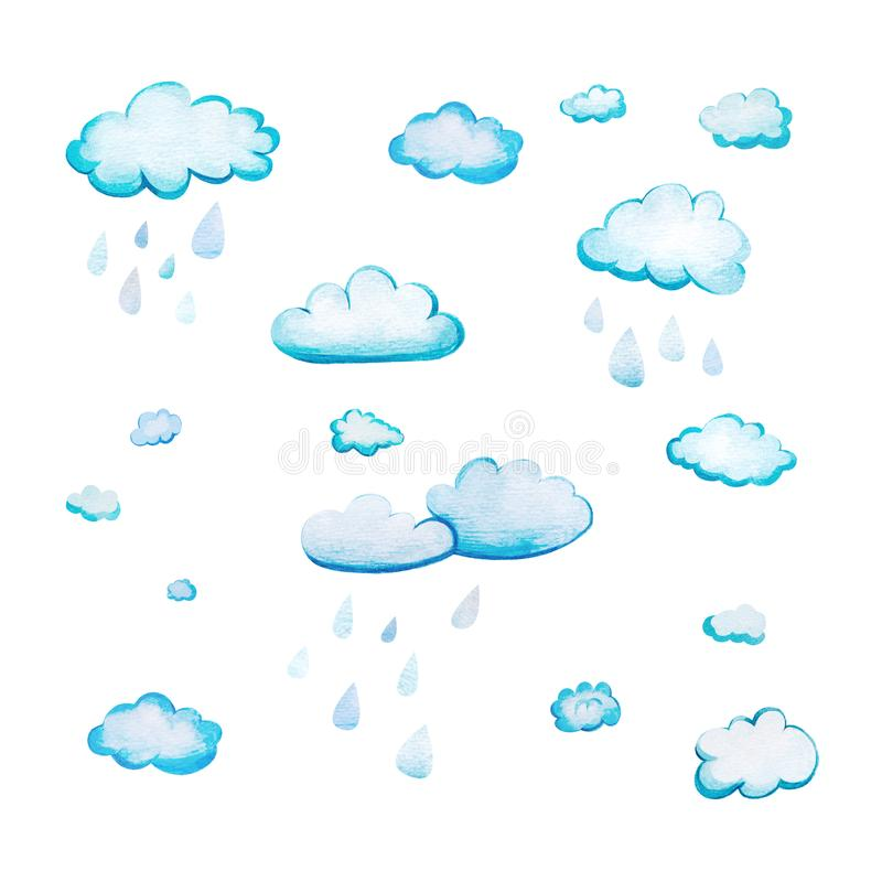 Set z akwareli kreskówki chmurami ilustracji