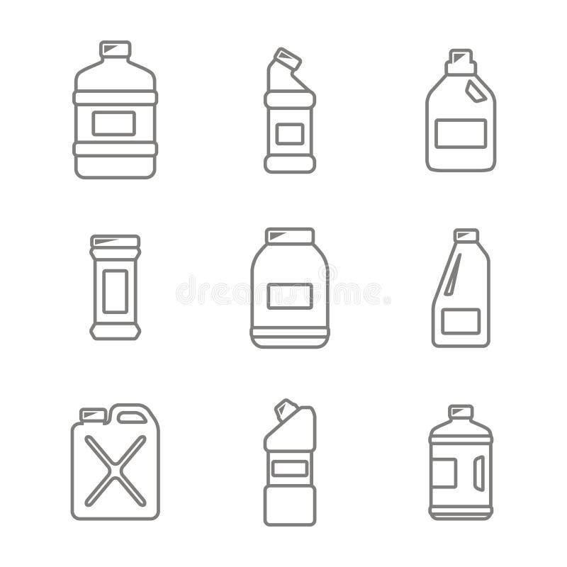 set z butelkami z czyścić chemicznych produkty royalty ilustracja