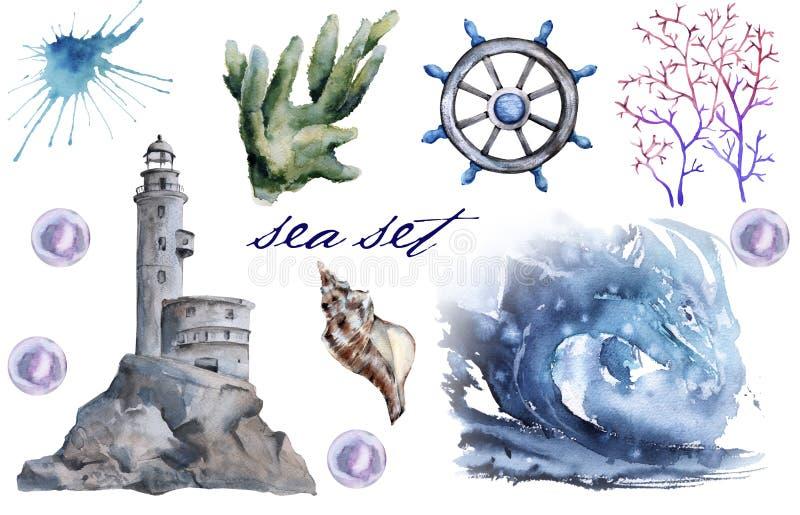 Set z dennymi elementami latarnia morska, fala, algi pojedynczy białe tło ilustracja wektor