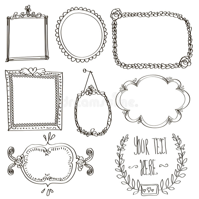 Set z doodle ramami ilustracja wektor