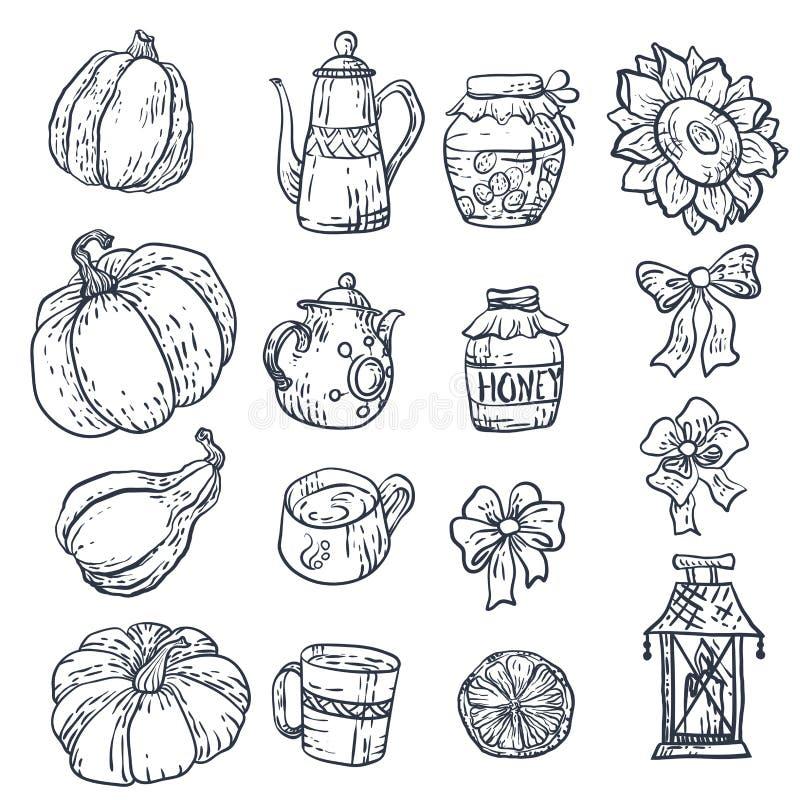 Set z gospodarstwo domowe elementami w wektorze ilustracja wektor