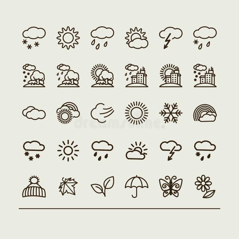 Set z ikonami - pogoda ilustracja wektor