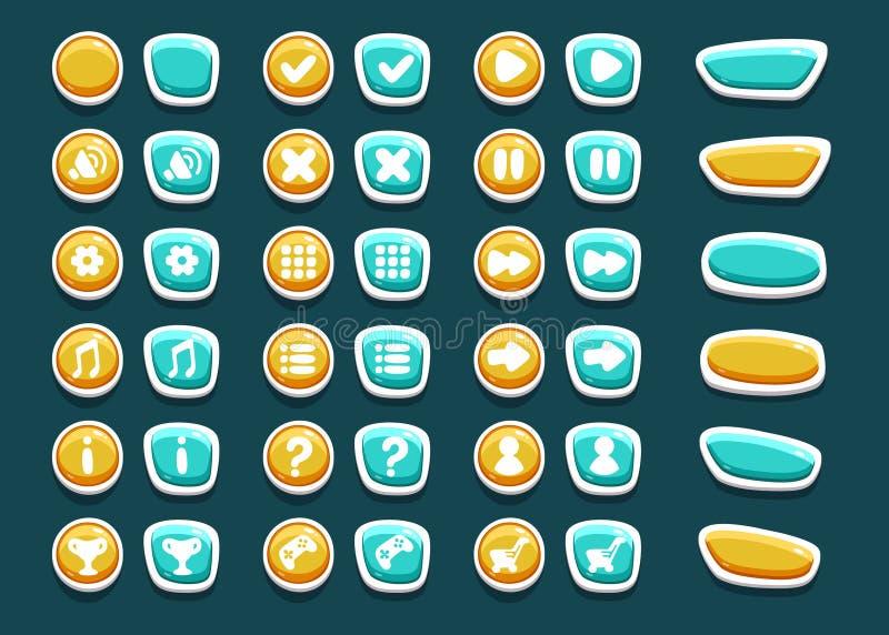 Set z interfejsów guzikami z ikonami royalty ilustracja