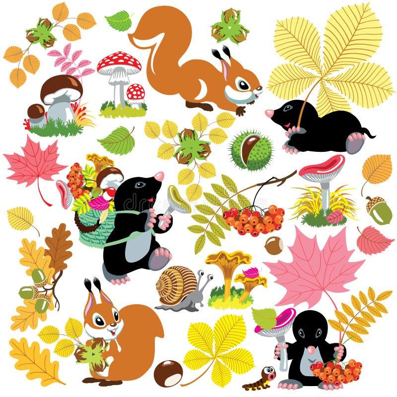 Set z jesiennym żniwem las royalty ilustracja