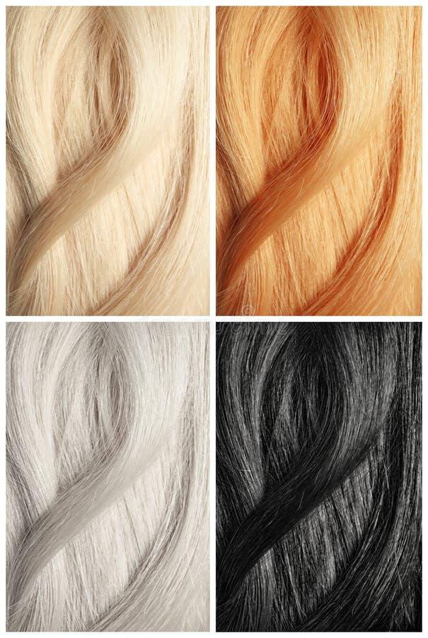Set z kolor włosianymi próbkami piękno zdjęcie stock