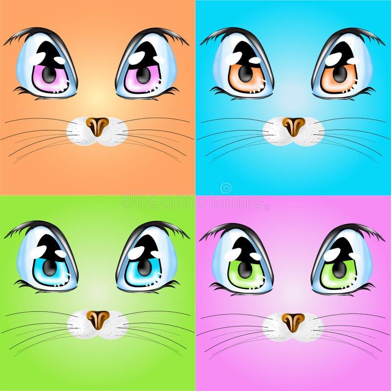 Set z kolorowymi kotami ilustracji