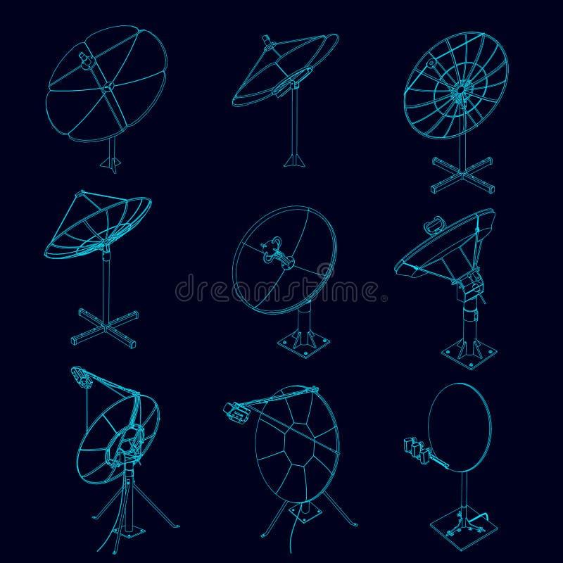 Set z konturami anteny satelitarne Telekomunikacyjne anteny satelitarne od niebieskich linii na ciemnym tle ilustracja wektor