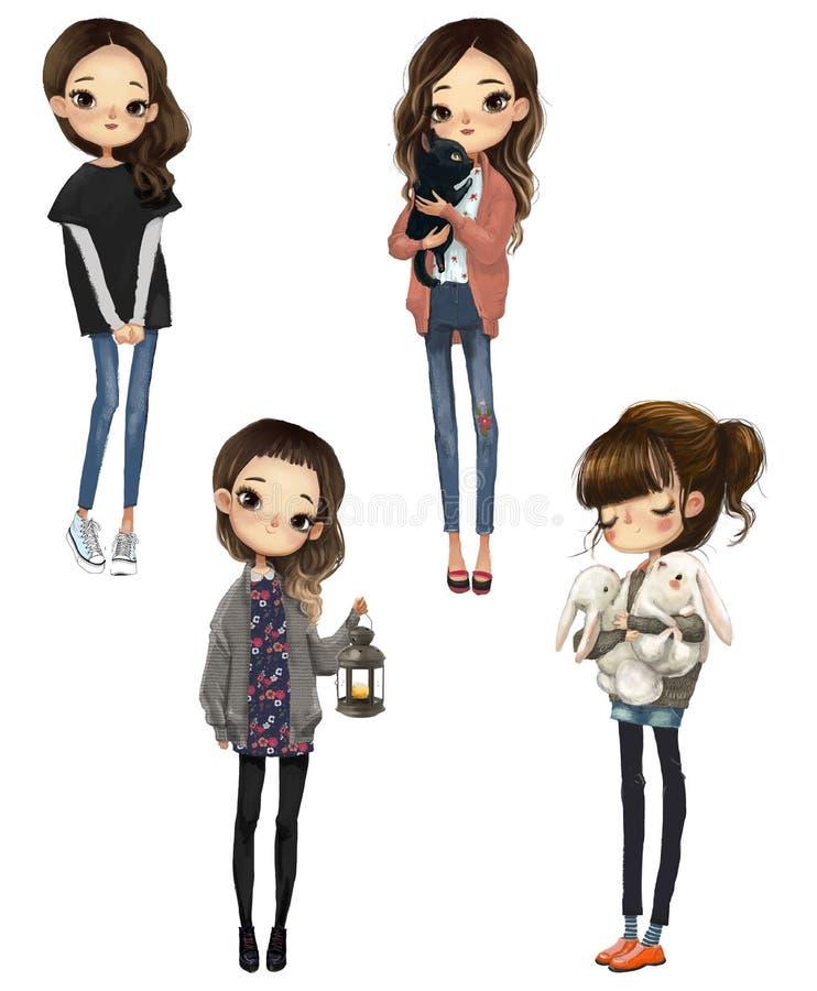 Set z kreskówek ślicznymi dziewczynami ilustracji