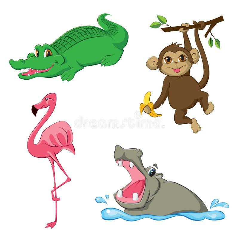 Set z kreskówek zwierzętami obraz stock