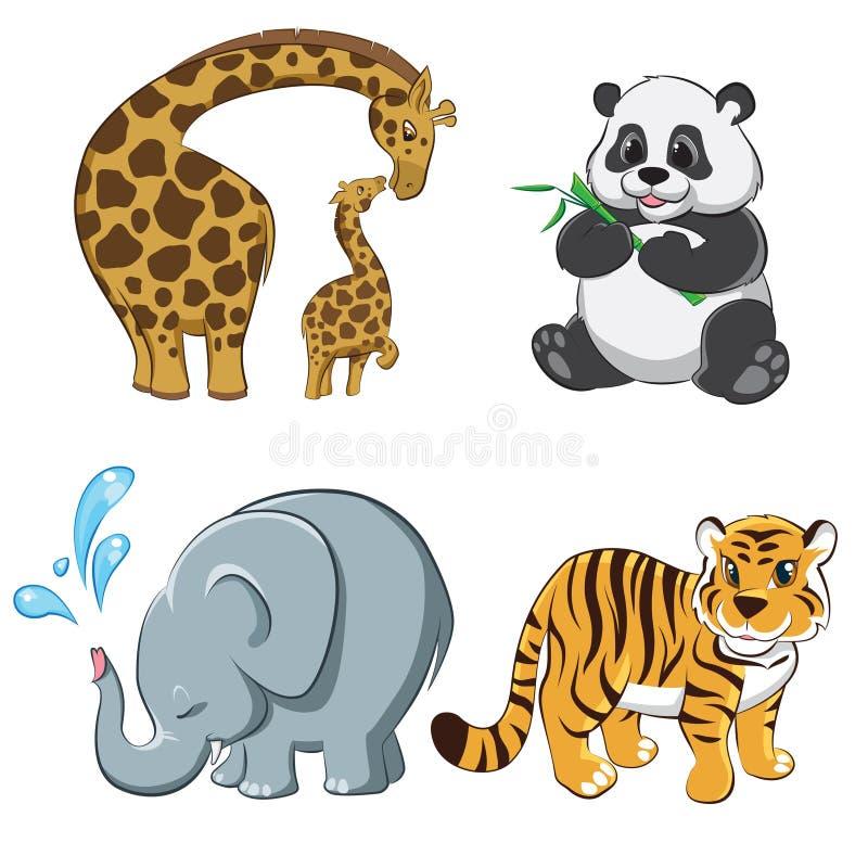 Set z kreskówek zwierzętami fotografia royalty free