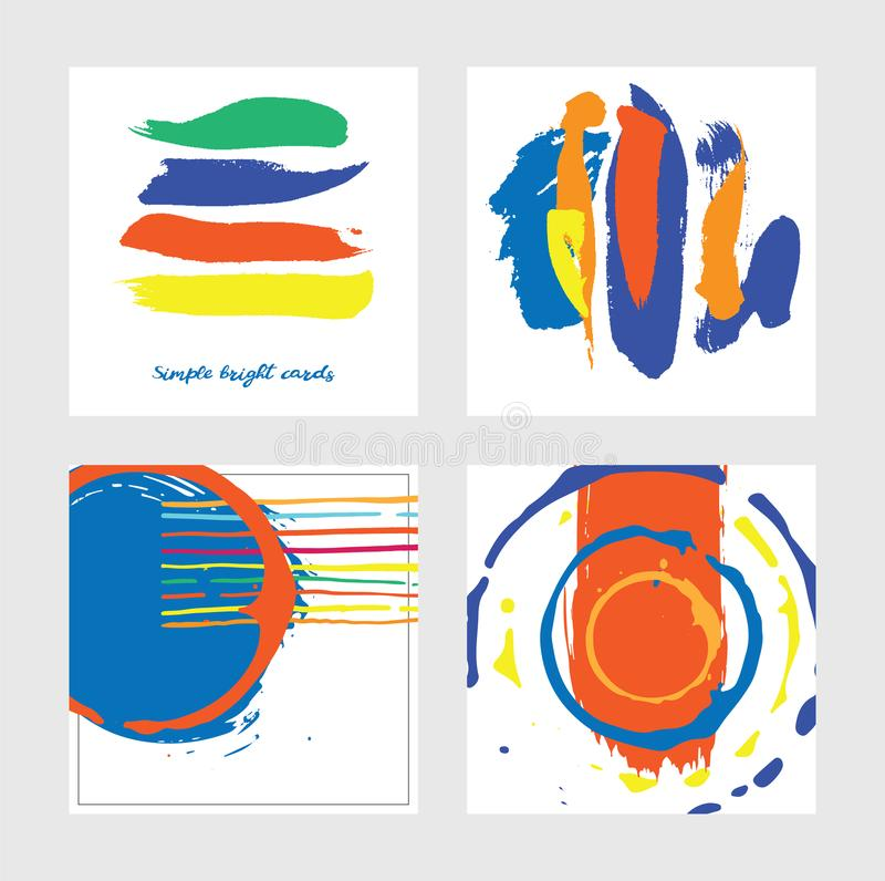 Set z kwadratowymi abstrakcjonistycznymi kartami rysować w grafika stylu z wzorami, elementami i lampasami ręki rysującymi, Proje ilustracja wektor