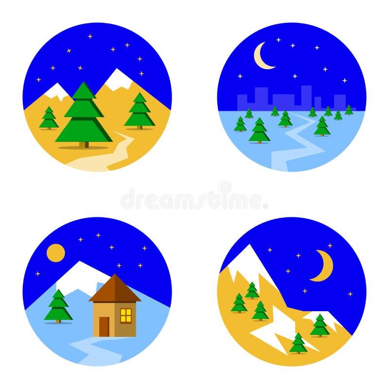 Set z obrazkami narta krajobraz w gór drzewach i śniegu royalty ilustracja