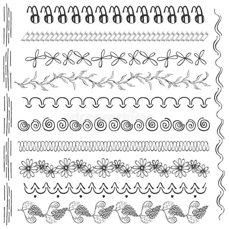 Set z Odosobnionymi Czarnej ręki projekta Rysującymi elementami ilustracja wektor