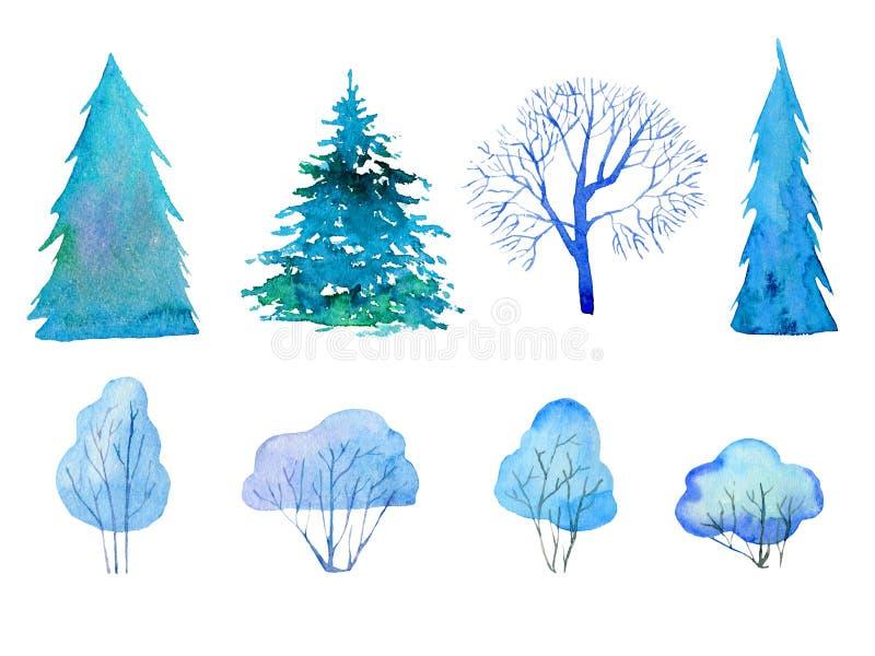 Set z odosobnionymi zim drzewami, jodłami i Ręka rysująca kreskówki akwareli ilustracja royalty ilustracja