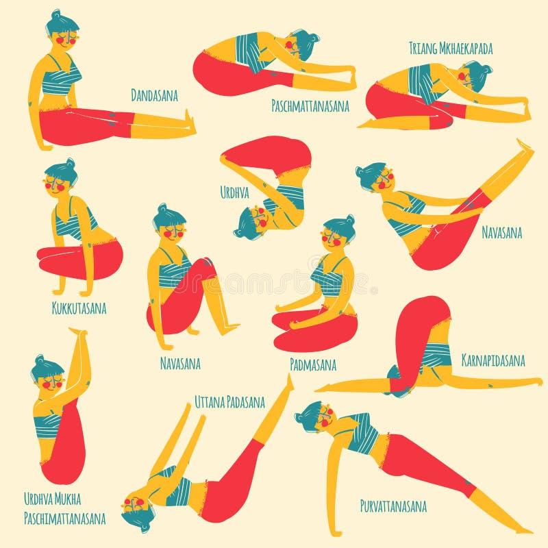 Set z piękną kobietą ćwiczy różnorodny różny joga pozuje szkolenie royalty ilustracja